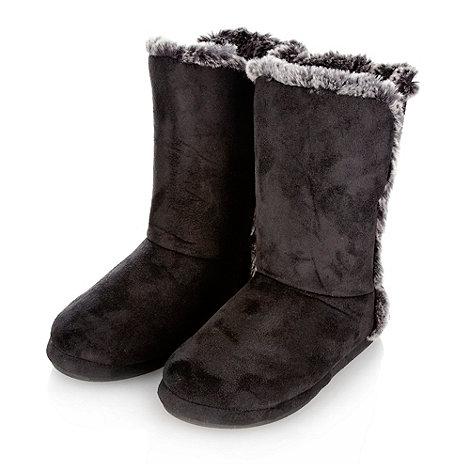 Presence - Black suedette roll cuff slipper boots