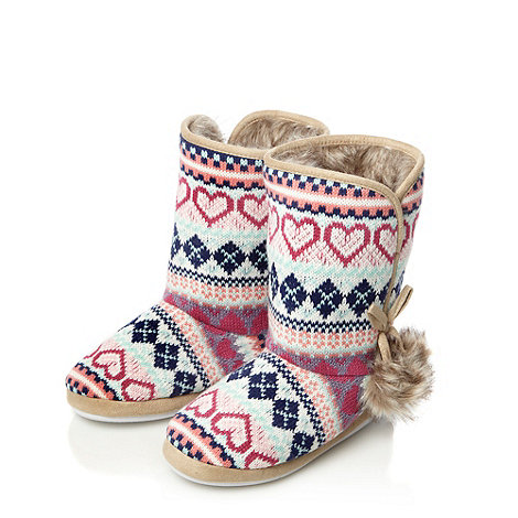 Presence - Pink heart knitted slipper boots