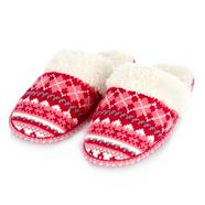 Pink fairisle knitted mules