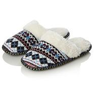 Navy fairisle knitted mules