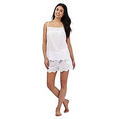 RJR.John Rocha - White textured spot pyjama vest top and shorts set