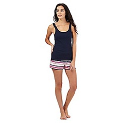 Lounge & Sleep - Navy blue and pink striped pyjama set