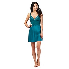 The Collection - Green satin lace insert chemise