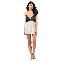 The Collection - White lace trim babydoll and thong set