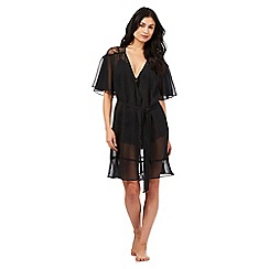 The Collection - Black lace insert short sleeve wrap
