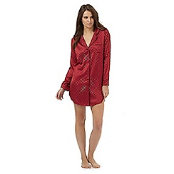 J by Jasper Conran - Red satin star print night shirt