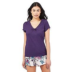 Lounge & Sleep - Purple lace trim pyjama top