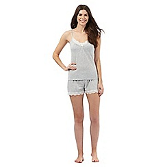 Lounge & Sleep - Grey lace trim pyjama vest top and shorts set