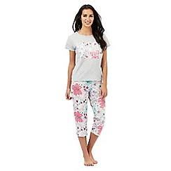 Lounge & Sleep - Tall grey floral 'bonne nuit' pyjama set