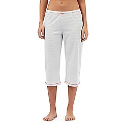 Lounge & Sleep - Tall white striped cropped pyjama bottoms