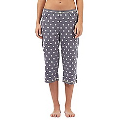 Lounge & Sleep - Dark grey polka dot print pyjama bottoms