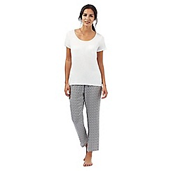 J by Jasper Conran - Petite white geometric print pyjama top and bottoms set