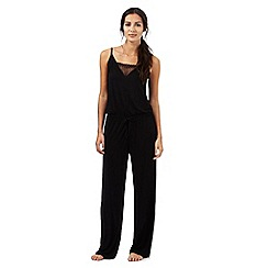 J by Jasper Conran - Petite black jersey all-in-one night jumpsuit