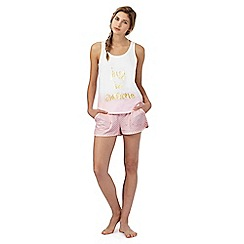 Iris & Edie - Light pink 'Just be awesome' print vest and shorts set