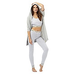 Iris & Edie - Grey polka dot pyjama top, bottoms & hoodie set