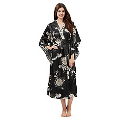 The Collection - Black satin floral print wrap