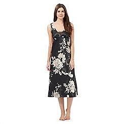 Presence - Black floral print night dress
