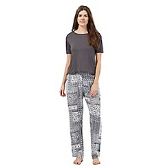 Lounge & Sleep - Dark grey floral print pyjama top and bottoms set