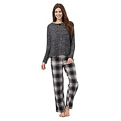 Lounge & Sleep - Dark grey printed pyjama top and bottoms set