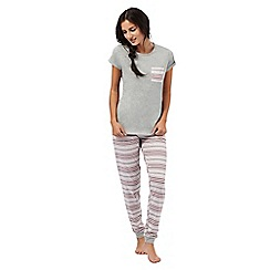 Lounge & Sleep - Grey and red striped pyjama set