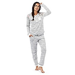 Mantaray - Cream striped floral print pyjama set