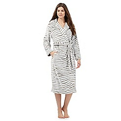 Lounge & Sleep - Grey zebra print dressing gown