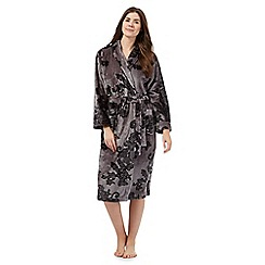 Lounge & Sleep - Grey floral lace print dressing gown