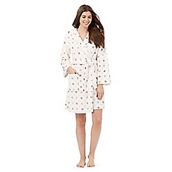 Lounge & Sleep - Cream spotted print dressing gown