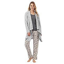 The Collection - Grey textured waterfall cardigan
