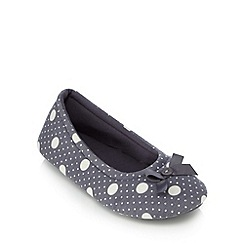 Lounge & Sleep - Dark grey spot ballet slippers