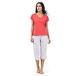 Lounge & Sleep - Red and white printed top and cropped trousers pyjama set
