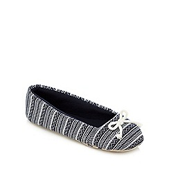Lounge & Sleep - Navy knitted Aztec print slippers