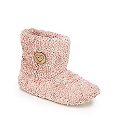 Lounge & Sleep - Pink textured boot slippers