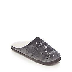 Lounge & Sleep - Grey embroidered 'Chase your dreams' mule slippers