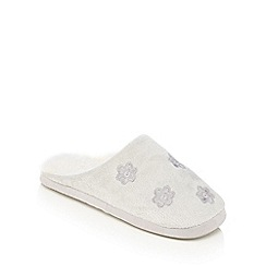 Lounge & Sleep - Grey embroidered flower mule slippers