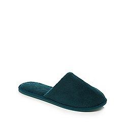 Lounge & Sleep - Dark green towelling mule slippers