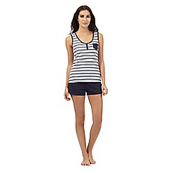 Lounge & Sleep - Navy striped print vest and shorts pyjama set