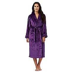 Lounge & Sleep - Dark purple fleece dressing gown