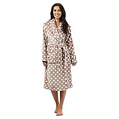 Lounge & Sleep - Taupe polka dot print dressing gown