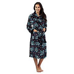 Lounge & Sleep - Navy mistletoe print dressing gown