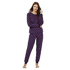 Lounge & Sleep - Purple star print fleece two piece pyjama set