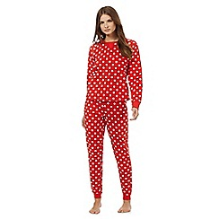 Lounge & Sleep - Red polka dot print fleece pyjama set