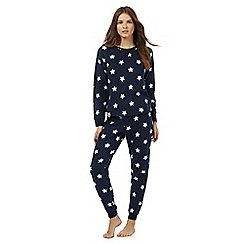 Lounge & Sleep - Navy star print fleece pyjama set
