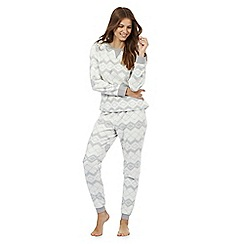 Lounge & Sleep - Grey Fair Isle fleece two piece pyjama set