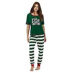 Lounge & Sleep - Green 'Elfie Selfie' pyjama set