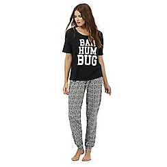 Lounge & Sleep - Black 'Bah humbug' print pyjama set