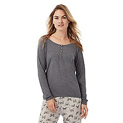 Lounge & Sleep - Grey button applique pyjama top and butterfly print bottoms set