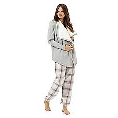 Lounge & Sleep - Pink and grey pyjama set with waterfall wrap