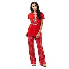 Lounge & Sleep - Red mistletoe print jersey pyjama set
