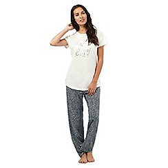 Lounge & Sleep - White 'baby it's cold outside' print pyjama set